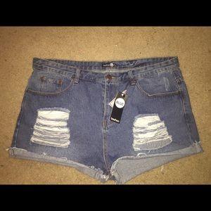 Boohoo high waisted denim shorts